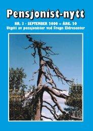NR. 3 - septembeR 2000 – ÅRG. 20 Utgitt av ... - Pensjonist-nytt