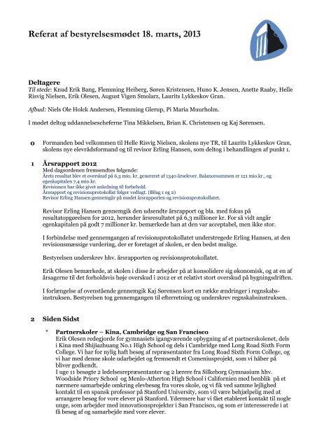 Referat af mødet den 18. marts 2013 - Silkeborg Gymnasium