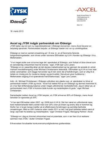 Axcel og JYSK indgår partnerskab om IDdesign