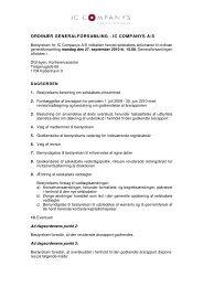 ORDINÆR GENERALFORSAMLING - IC COMPANYS A/S