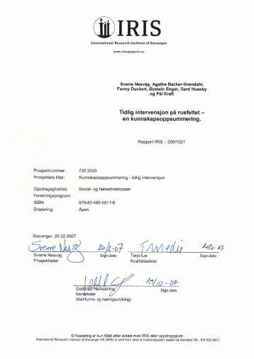 IRIS 2007: Rapport - Borgestadklinikken