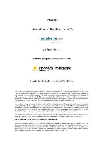 Prospekt Introduktion af Notabene.net A/S på First North