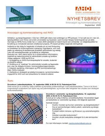 Nyhetsbrev høst 2009 - Arkitektur- og designhøgskolen i Oslo