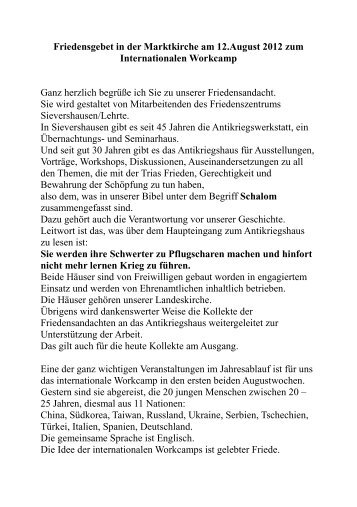Friedensgebet in der hannoverschen Marktkirche - Antikriegshaus ...
