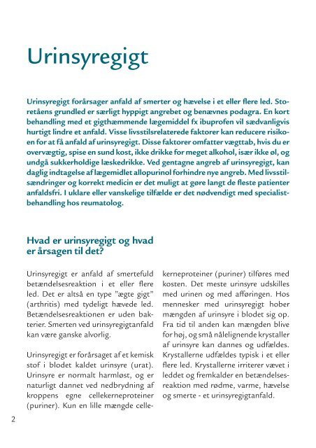 Urinsyregigt information - Sygehus Vendsyssel