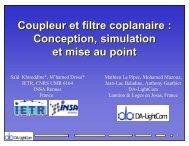 Presentation - Coupleur et filtre coplanaire : Conception, simulation ...