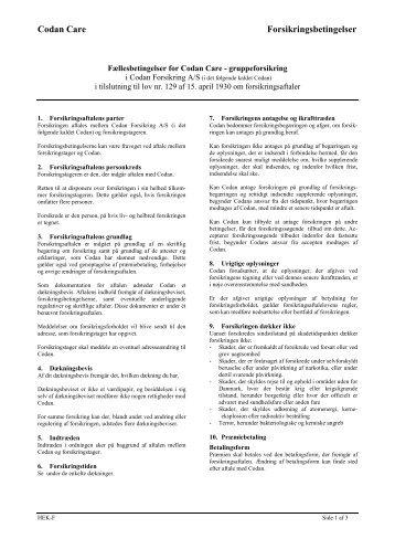 Codan Care, fælles betingelser