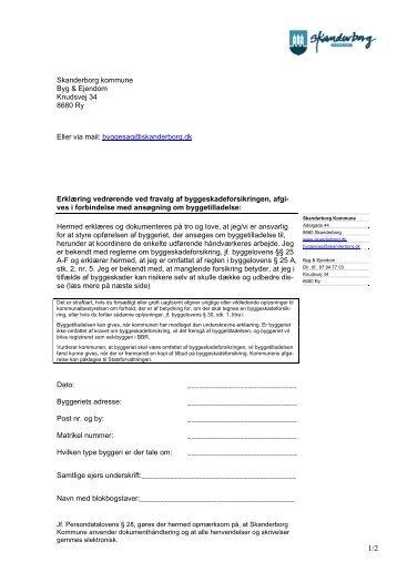 Blanket til fravalg af Byggeskadeforsikring - Skanderborg Kommune
