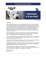 OBS. En pdf-version af nyhedsbrevet kan hentes her - Aalborg Zoo