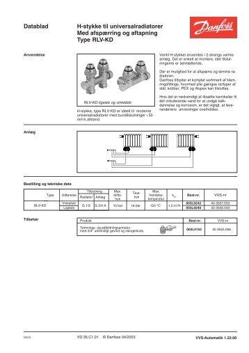 RLV-KD, H-stykke til universalradiatorer - Danfoss Varme