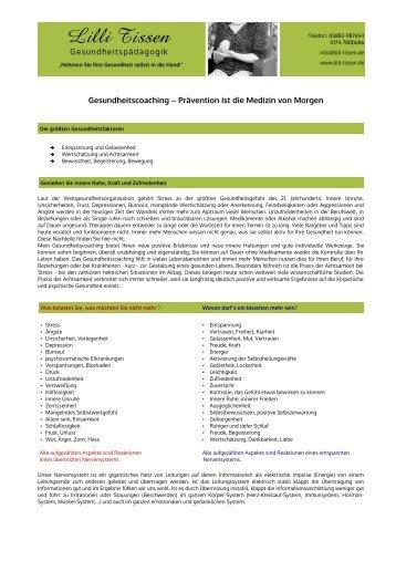 Gesundheitscoaching – Prävention ist die Medizin von ... - Lilli Tissen