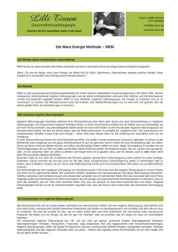 Die Mace Energie Methode – MEM - Lilli Tissen