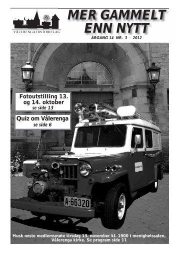 Mer gammelt enn nytt 3/2012 - Vålerenga Historielag