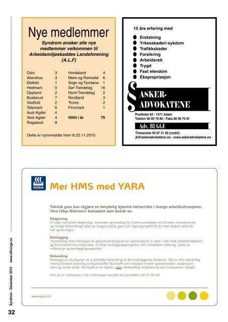 Syndrom nr.4. 2010 - Arbeidsmiljøskaddes landsforening