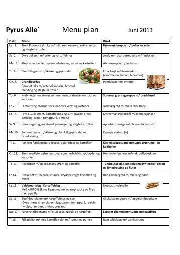 juni måneds menuplan