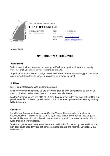 Nyhedsbrev nr. 1 - august 2006 - Gentofte skole