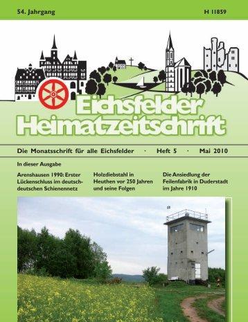 Die Monatsschrift für alle Eichsfelder · Heft 5 · Mai 2010 54. Jahrgang