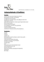 Valgmuligheder til buffeter: - Café Fru Dax