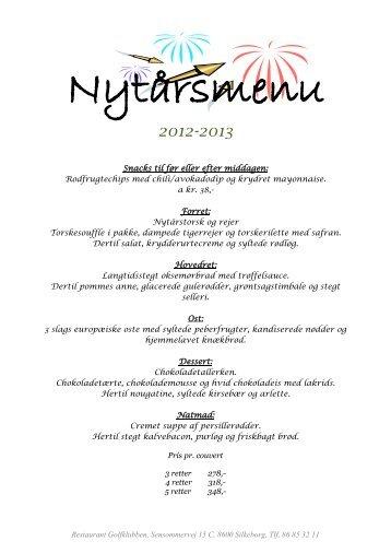 nytårs menukort - Restaurant Golfklubben