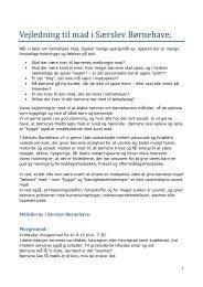 Vejledning til mad i Særslev Børnehave: - Nordfyns Daginstitutioner