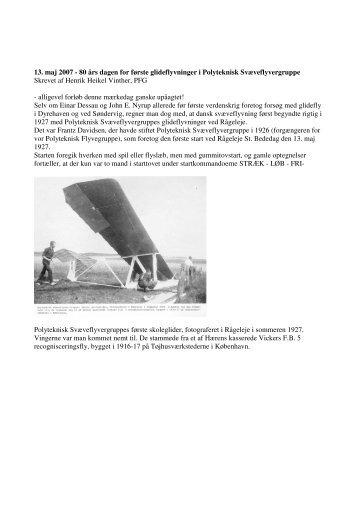 13. maj 2007 - 80 års dagen for første glideflyvninger i ... - DaSK