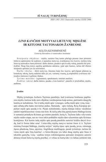 lino kančios motyvai lietuvių mįslėse ir kituose tautosakos žanruose