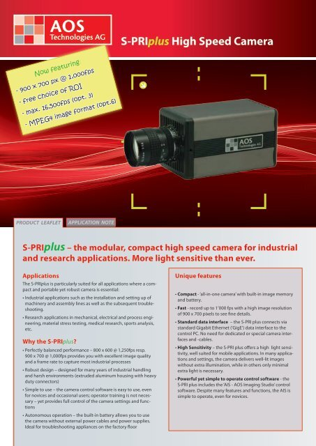 S-Priplus High Speed Camera - AOS Technologies AG