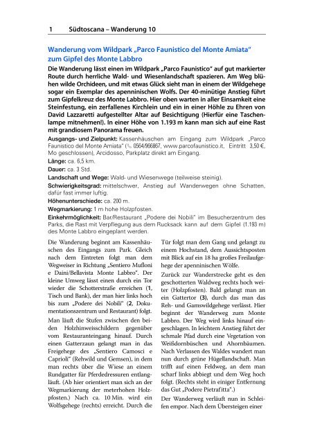 Parco Faunistico del Monte Amiata - Michael Müller Verlag