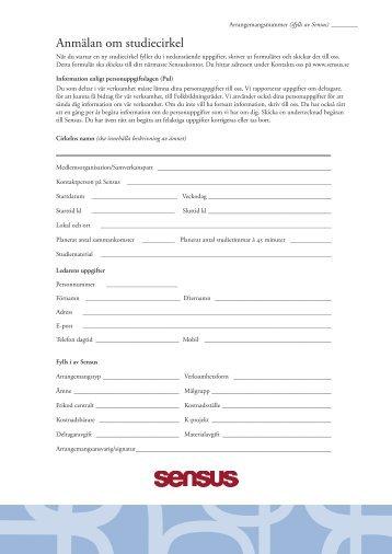 Anmälan om studiecirkel - Sensus