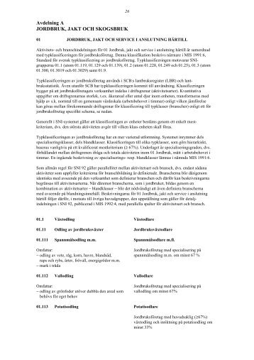 Avdelning A JORDBRUK, JAKT OCH SKOGSBRUK (pdf)