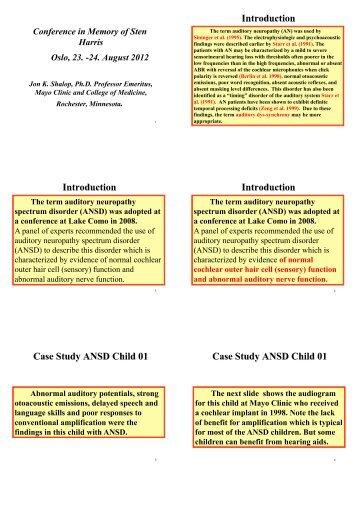 Auditory Neuropathy Spectrum Disorder - Sten Harris