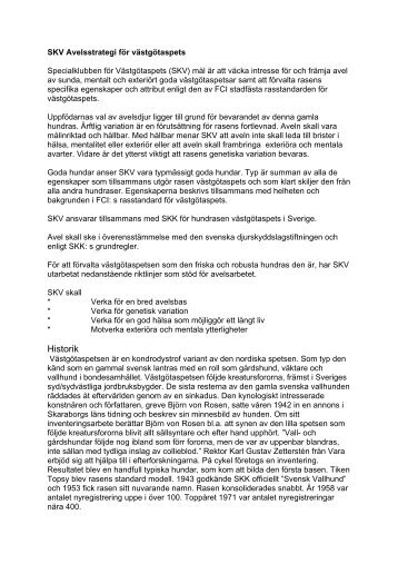 """Läs gärna mera i """"Avelsmål/RAS"""" - Specialklubben för Västgötaspets"""