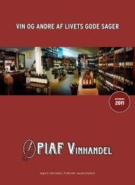 VIN OG ANDRE AF LIVETS GODE SAGER - Piaf Vinhandel