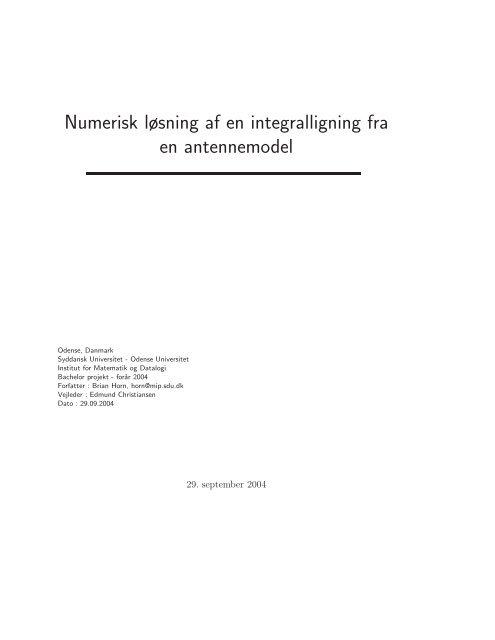 Numerisk løsning af en integralligning fra en antennemodel