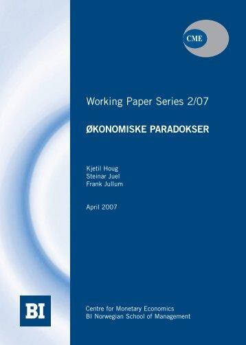 Økonomiske Paradokser - BI Norwegian Business School