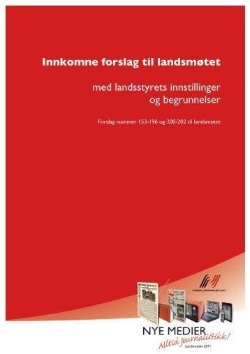 Innkomne forslag til landsmøtet - Norsk Journalistlag
