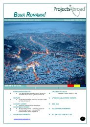 The Official Newsletter of Projects Abroad - Romania