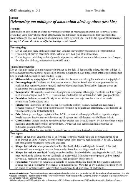 Orientering om målinger af ammonium nitrit og nitrat (test kits)