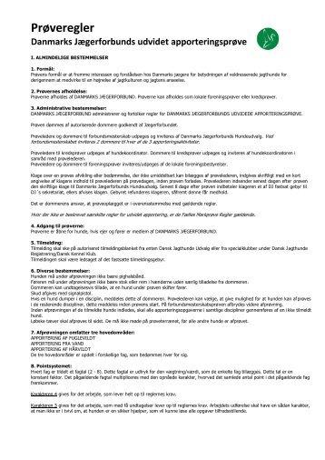 Prøveregler udvidet apportering - Tange-Bjerringbro Jagtforening
