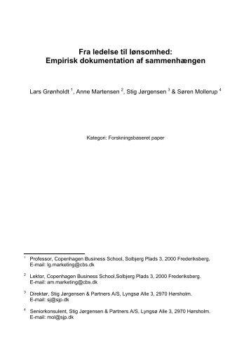 Empirisk dokumentation af sammenhængen - Det Danske ...