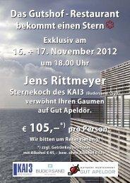 Exklusiv am 16. + 17. November 2012 um 18.00 Uhr Jens Rittmeyer