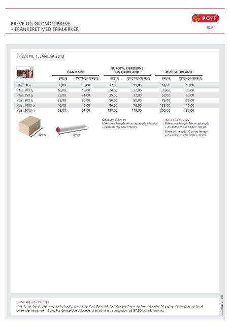 post danmark porto priser