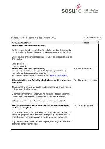 Takstoversigt til samarbejdspartnere 2009 AMU-aktiviteter ... - SOSU C