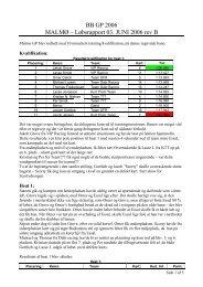 BB GP 2006 MALMØ – Løbsrapport 03. JUNI 2006 rev B