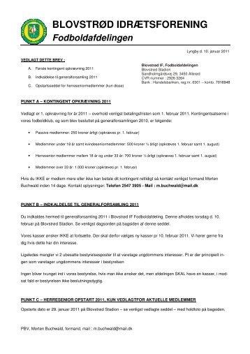 Brev i forbindelse med kontingent opkræving 2011 - Blovstrød IF ...