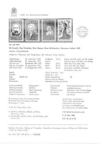 CG SI,IqAiJIALAST.J6RNIN No. 5/8 1975 Nf frimerki, Nye ... - Stamps.is