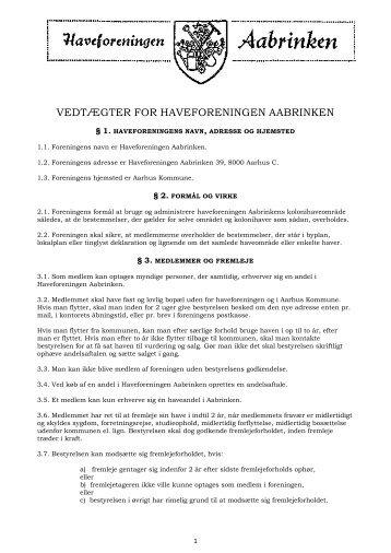 VEDTÆGTER FOR HAVEFORENINGEN AABRINKEN