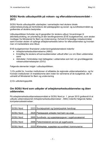 Udbudspolitik 2013 - SOSU Nord