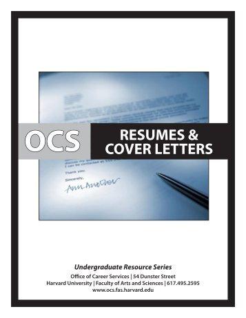 Resume/Cover Letter Workshop - Harvard University