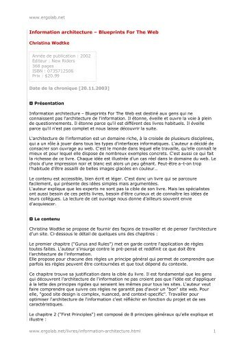 Blueprint magazines information architecture blueprints for the web ergolab malvernweather Gallery